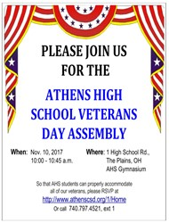 AHS Veteran's Day Assembly, 11/10/17 at 10:00 am