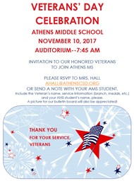 AMS Veteran's Day Celebration - 11/10/17, 7:45 am