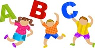 Clip art of kids holding the letters A, B and C