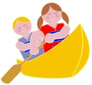 Clip Art of Kids Canoeing