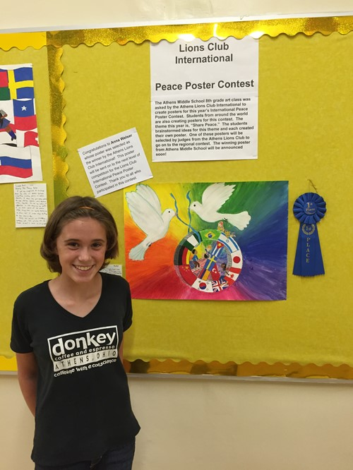 AMS 8th Grader Wins Lions International Peace Poster Contest