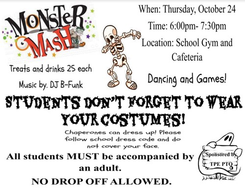 The Plains Elementary Monster Mash 2019 Flier
