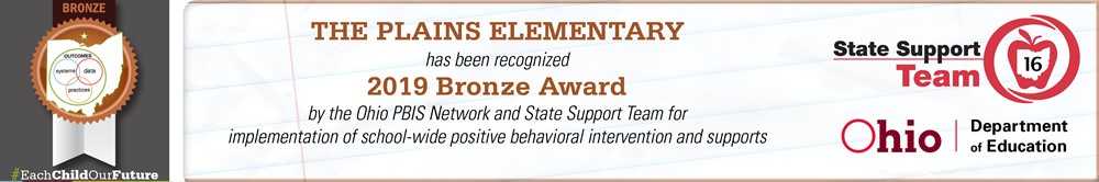 The Plains PBIS 2019 Bronze Award Banner