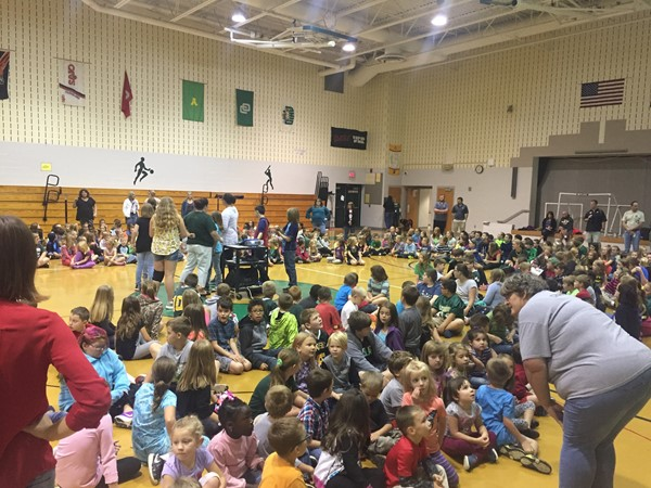 Whole School Morning Meeting Led by 6th Grade Students