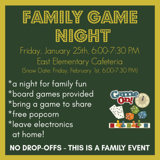 East Family Game Night 1/25/19, 6-7:30 pm