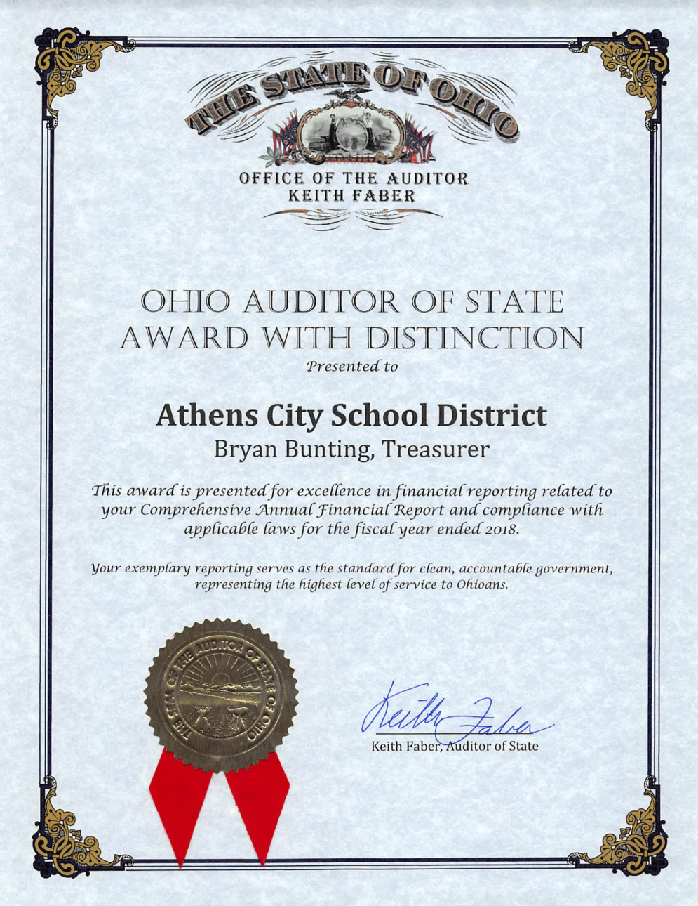 ACSD Auditor of State Award FY 18