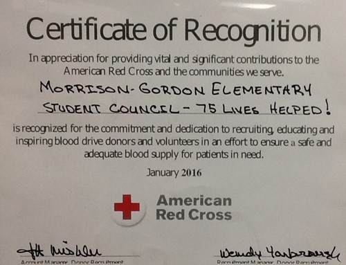 Thank you for supporting the blood drive morrison gordon elementary photo of certificate of reognition yadclub Gallery