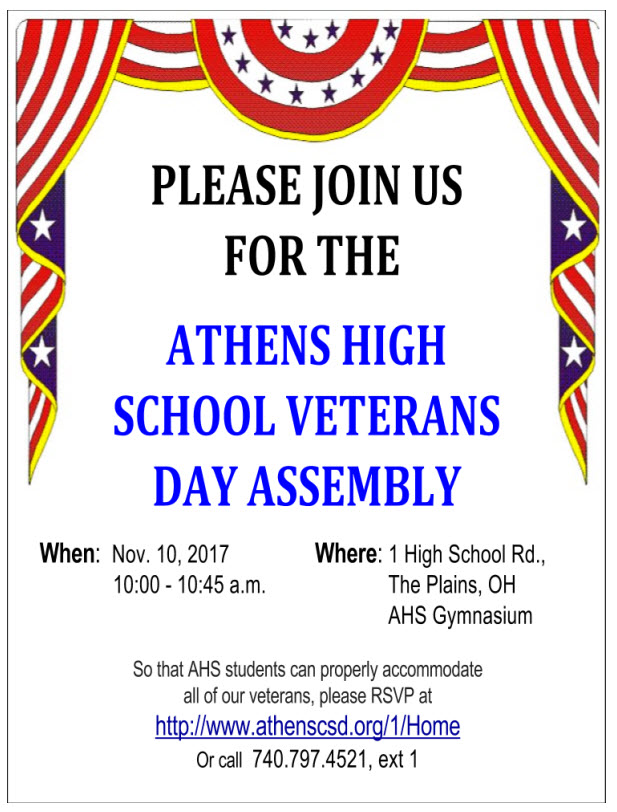 AHS Veteran's Day Assembly, 11/10/17, 10:00 am