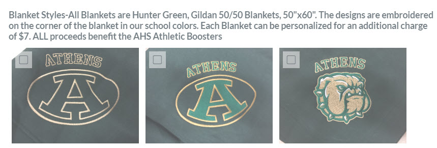 Athletic Booster Blanket Options