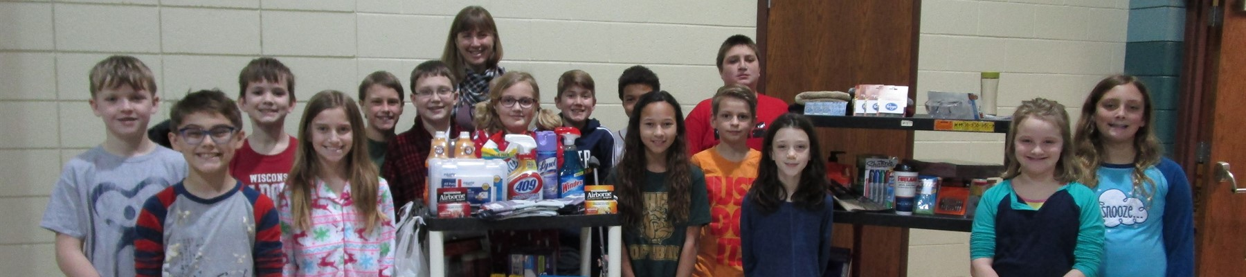 Mo-Go Student Council with Emily Axe and a few of our purchased donations for Good Works.