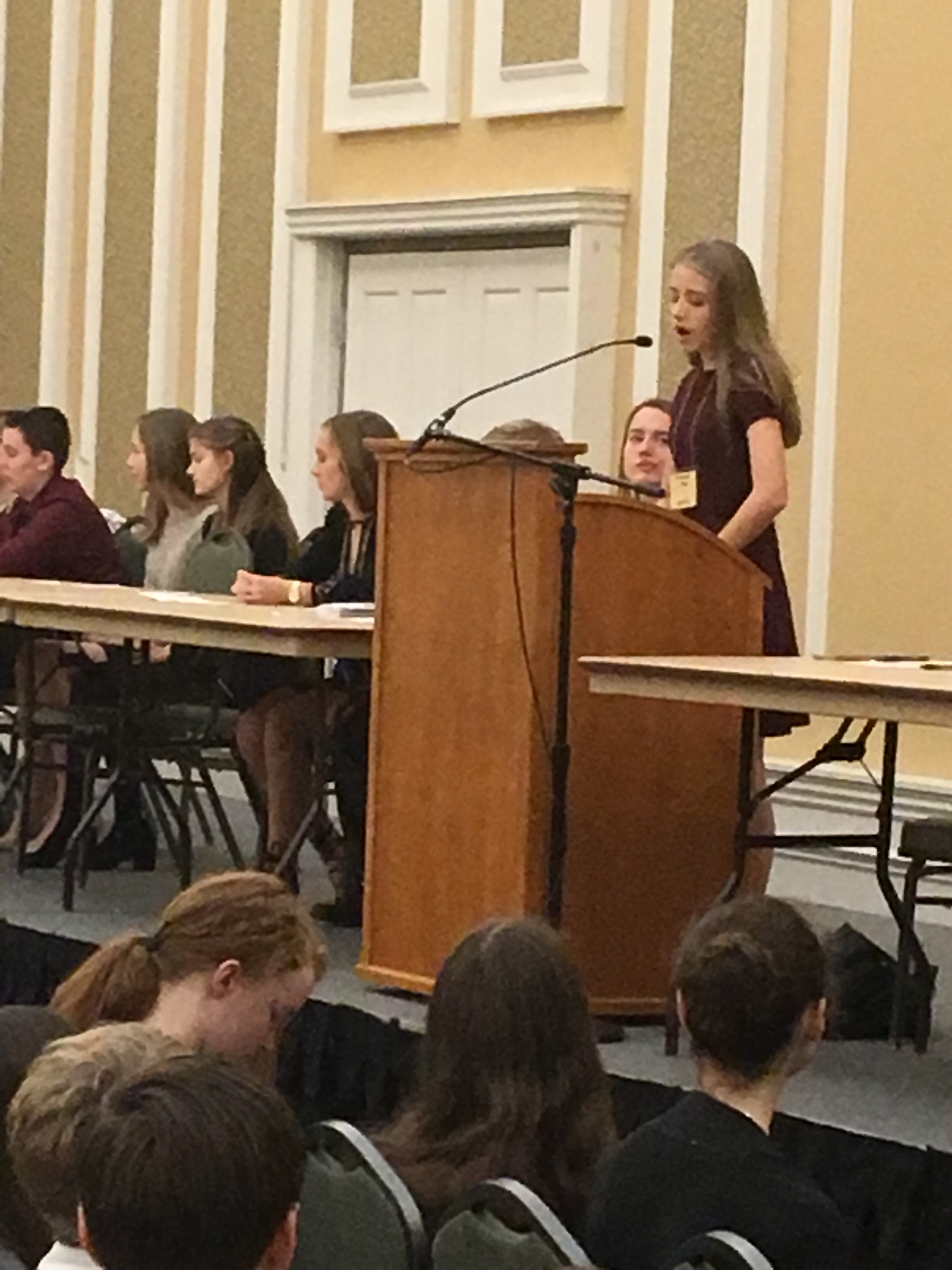 President of Southeast Ohio Model United Nations Emmy Elliott delivers the opening speech
